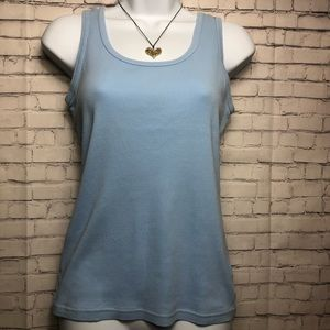 Basic Editions blue tank top with rounded neckline